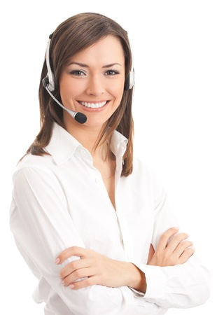 Support phone operator in headset, isolé sur blanc Banque d'images