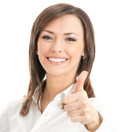 Happy smiling businesswoman with thumbs up gesture, isolated on white background photo