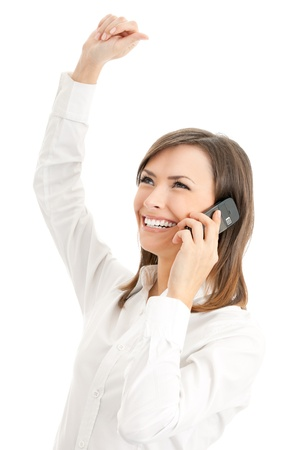 speak out: Happy smiling successful gesturing businesswoman with cell phone, isolated on white background