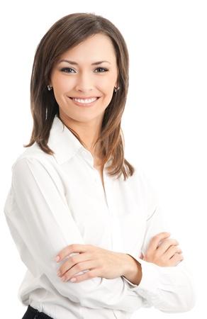 Portrait de jeune femme d'affaires heureux souriant, isolé sur fond blanc