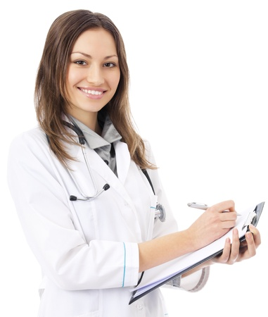 Portrait of young happy smiling female doctor with clipboard, isolated over white background photo