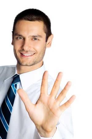 five fingers: Portrait of happy smiling businessman showing five fingers, isolated over white background Stock Photo