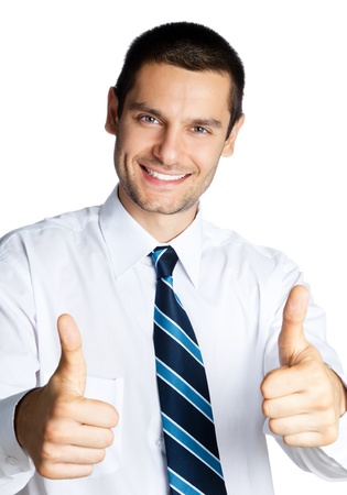 Happy smiling cheerful business man with thumbs up gesture, isolated over white background photo