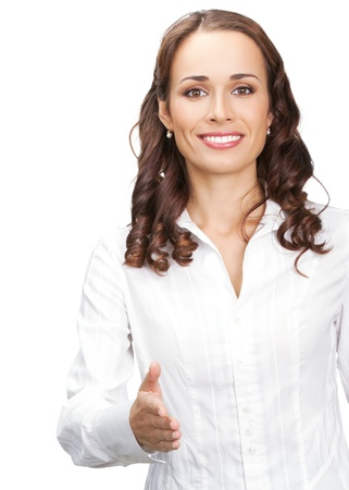 hello: Business woman giving hand for handshake, isolated over white background