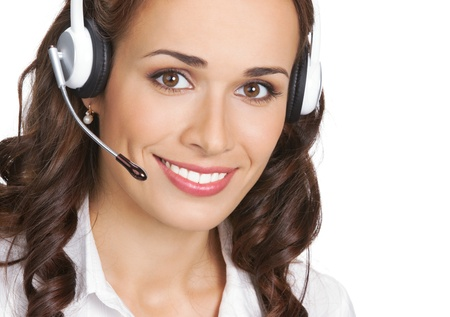 Portrait of happy smiling cheerful beautiful young support phone operator in headset, isolated over white background Stock Photo - 18917545