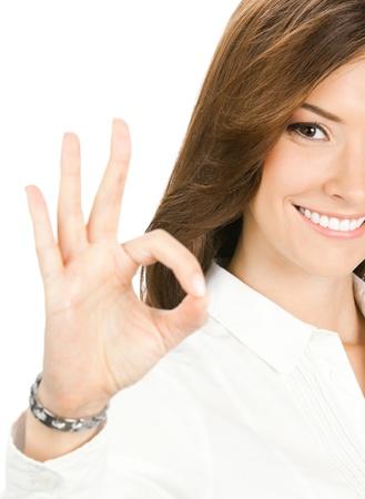 stimme: Gl�cklich l�chelnd fr�hliche junge Frau mit Ordnung Geste, isoliert �ber wei�em Hintergrund