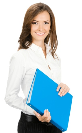 Portrait of young happy smiling cheerful businesswoman with blue folder, isolated over white background photo