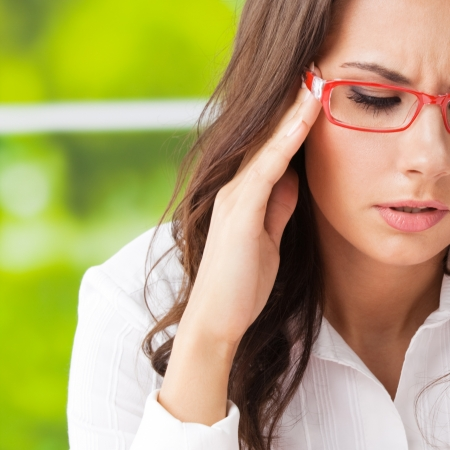 Thinking, tired or ill with headache business woman at office Stock Photo - 19359142