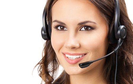 Portrait of happy smiling cheerful beautiful young support phone operator in headset, isolated over white background Stock Photo - 19459527
