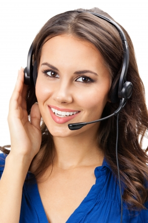 Portrait of happy smiling cheerful beautiful young support phone operator in headset, isolated over white background Stock Photo - 19459680