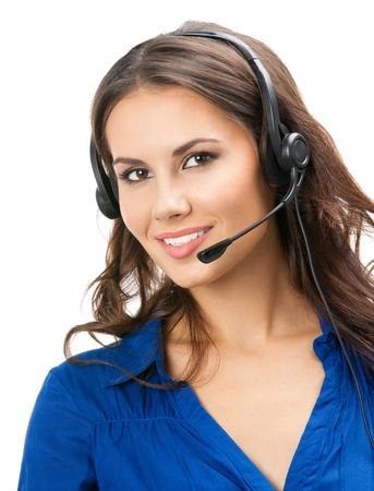 Portrait of happy smiling cheerful beautiful young support phone operator in headset, isolated over white background Stock Photo - 19459533