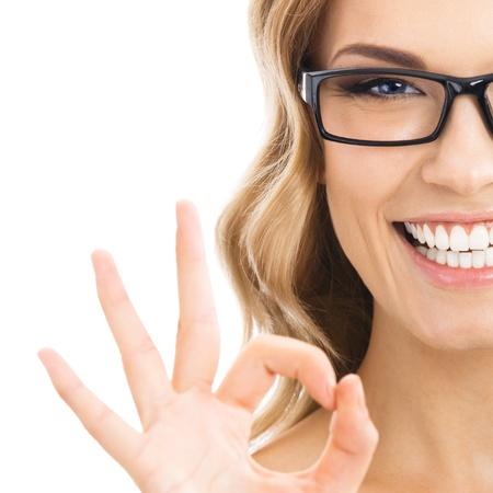 the great: Happy smiling business woman with okay gesture, isolated over white background Stock Photo