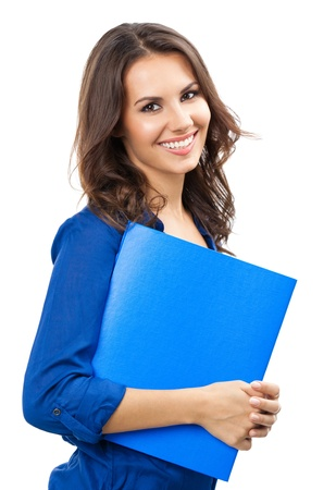 Portrait of young happy smiling business woman with blue folder, isolated over white background photo