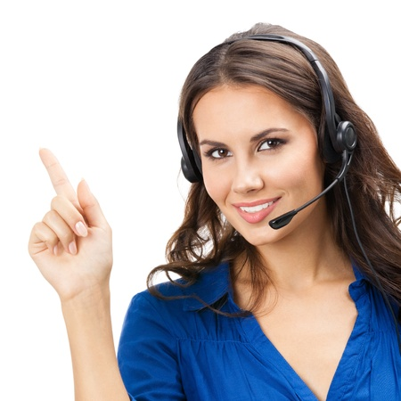 call center agent: Portrait of happy smiling cheerful beautiful young support phone operator showing, isolated over white background Stock Photo
