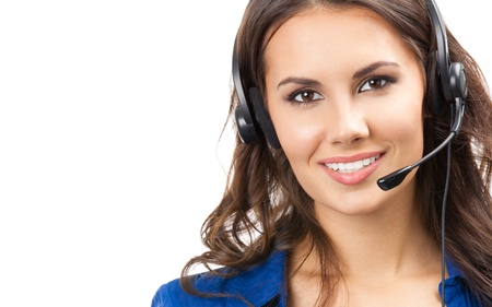 call center agent: Portrait of happy smiling cheerful beautiful young support phone operator in headset, isolated over white background