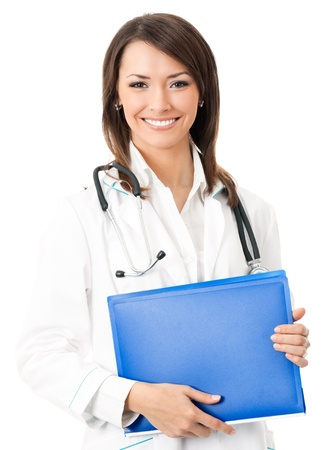 Cheerful young doctor with blue folder, isolated over white background photo