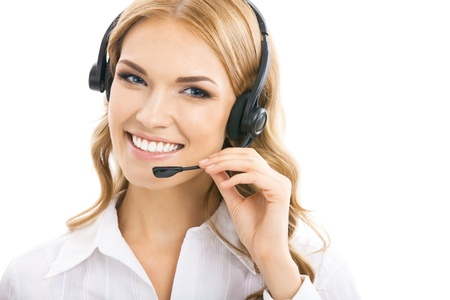 call out: Portrait of happy smiling cheerful beautiful young support phone operator in headset, isolated over white background