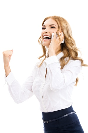 Happy gesturing young cheerful smiling business woman with phone or support operator, isolated over white background photo
