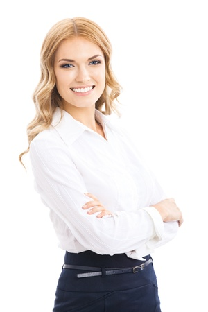 Portrait of happy smiling young cheerful business woman, isolated over white background photo