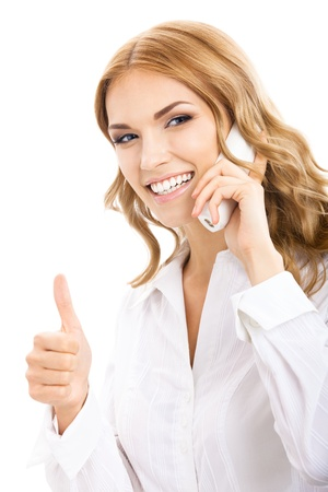 Portrait of happy smiling cheerful young support phone operator or business woman with office phone, showing thumbs up gesture, isolated over white background photo