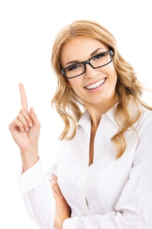 Portrait of young cheerful smiling thinking business woman in glasses, showing one finger or idea gesture, isolated over white background photo