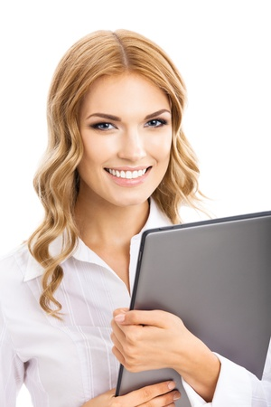 Portrait of happy smiling young cheerful business woman using tablet pc, isolated over white background photo