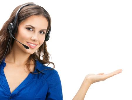 Portret van gelukkige lachende vrolijke mooie jonge ondersteuning telefoon operator vertoning; ge Stockfoto