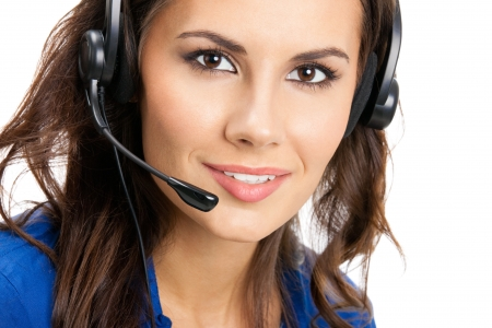 Portrait of happy smiling cheerful beautiful young support phone operator in headset, isolated over white background Stock Photo - 21694678