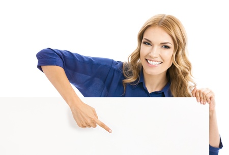 blondy: Happy smiling young business woman showing blank signboard, isolated over white background