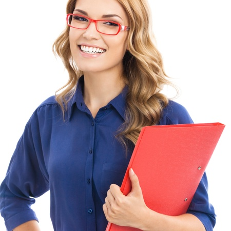 Portrait of happy smiling young cheerful businesswoman with red folder, isolated over white background photo
