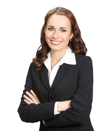 white body suit: Portrait of happy smiling young business woman in black suit, isolated over white background