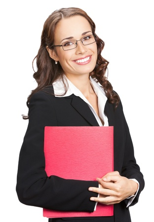 Portrait of happy smiling business woman in glasses with red folder, isolated on white background photo