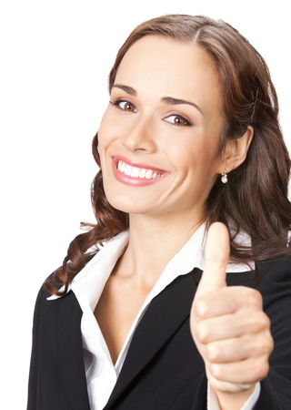 Happy smiling business woman with thumbs up gesture, isolated over white background photo