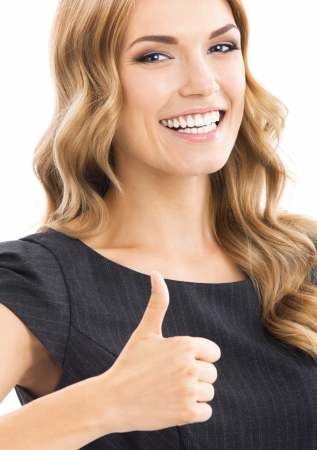 thumbs up woman: Happy smiling business woman with thumbs up gesture, isolated over white background