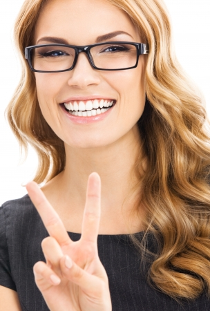 2 persons only: Happy business woman showing two fingers or victory gesture, isolated over white background