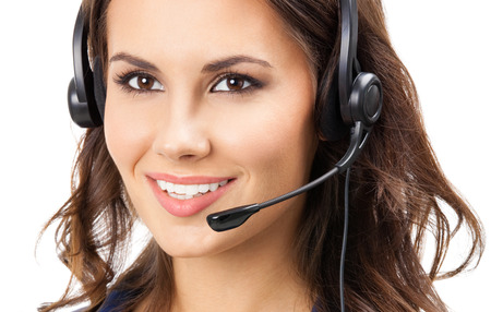 Portrait of happy smiling cheerful beautiful young support phone operator in headset Stock Photo - 22644290