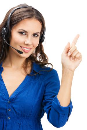 Portrait eines glücklichen Lächeln fröhlich schöne junge Kunden-Support-Telefon-Betreiber zeigt Standard-Bild - 22644293