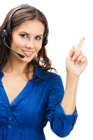 Portrait of happy smiling cheerful beautiful young support phone operator showing Stock Photo - 22644293