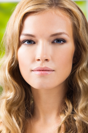 scincare: Portrait of young beautiful blond woman Stock Photo