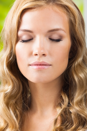 scincare: Portrait of young beautiful blond woman with closed eyes Stock Photo