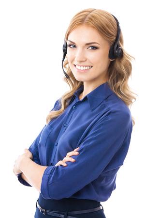 Portrait eines glücklichen Lächeln fröhlich schöne junge Unterstützung Telefonistin in Headset, isoliert über weißem Hintergrund Standard-Bild - 23426875