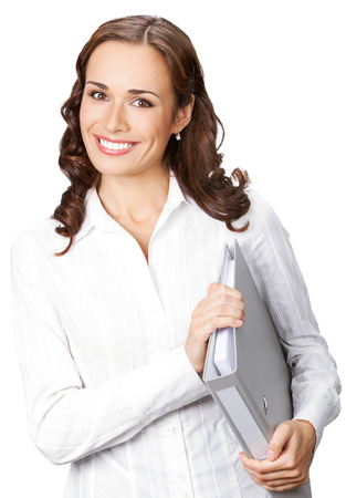 Portrait of young happy smiling businesswoman with grey folder, isolated on white background photo