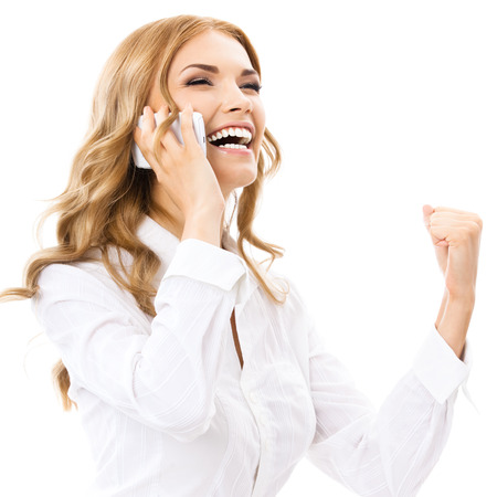 employe: Happy gesturing young cheerful smiling business woman with phone or support operator, isolated over white background