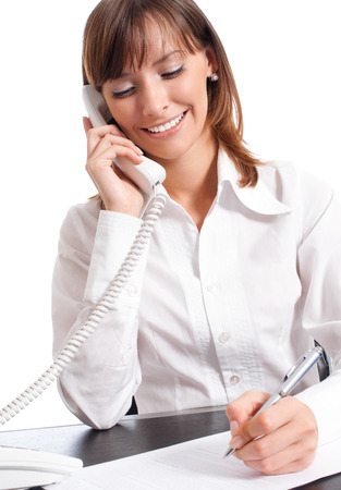 business woman phone: Happy smiling successful business woman with phone, isolated over white background
