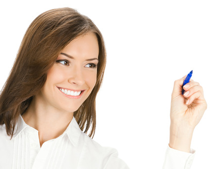 glassboard: Happy smiling cheerful young business woman writing or drawing on screen with blue marker, isolated on white background