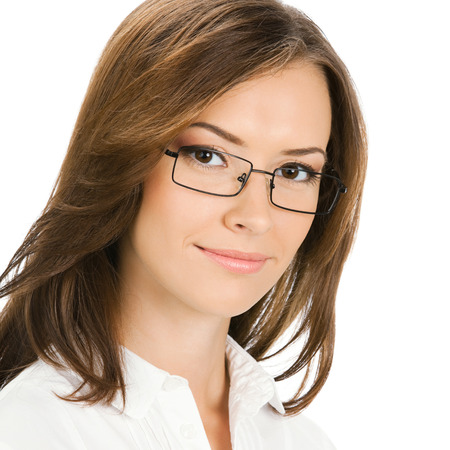 Portrait of happy smiling cheerful young business woman in glasses, isolated on white  photo