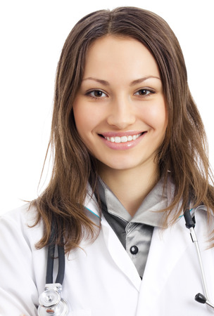 Portrait of happy smiling young female doctor photo
