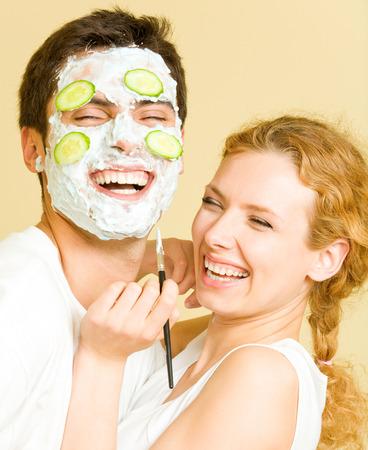 cheerfull: Cheerfull couple having a fun together Stock Photo