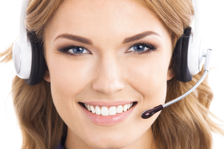 support agent: Portrait of happy smiling cheerful beautiful young support phone operator in headset, isolated over white background