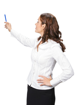 Young business woman showing something in her back, isolated over white background photo